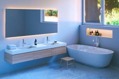 Pardoseala de marmura alba pentru baie